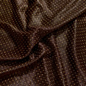 Golden and Dark Brown Pearls Shape Lycra Fabric-6546