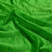 Golden and Green Pearls Design Lycra Fabric-6540