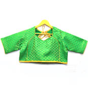 Golden and Green Unique Silk Brocade Blouse-30108