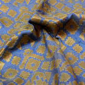Golden and Light Blue Zig-Zag Pattern Brocade Silk Fabric-5339