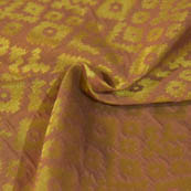 Golden and Light Brown Square Shape Brocade Silk Fabric-8046