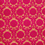 Golden and Magenta Red Brocade Silk Fabric by the yard