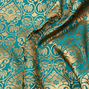 Golden and Mint Green Flower Shape Brocade Silk Fabric-5380