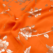 Golden and Orange Flower Pattern Brocade Silk Fabric-5414