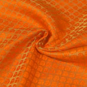 Golden and Orange Small Flower Design Brocade Silk Fabric-8045