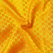 Golden and Orange Small Flower Pattern Brocade Silk Fabric-8013