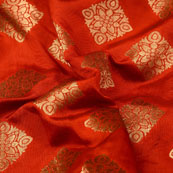 Golden and Orange flower Design Brocade Silk Fabric-5345