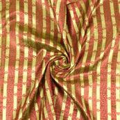 Golden and Pink Brocade Silk Fabric-8894