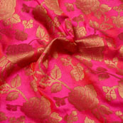 Golden and Pink Floral Shape Brocade Silk Fabric-5330