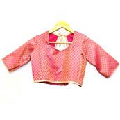 Golden and Pink Leaf Silk Brocade Blouse-30087