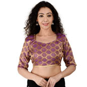 Golden and Purple Elbow Sleeve Silk Brocade Blouse-30181