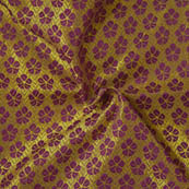 Golden and Purple Flower Pattern Brocade Silk Fabric-8002