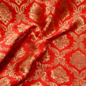 Golden and Red Floral Pattern Brocade Silk Fabric-5352