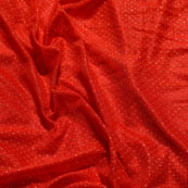 Golden and Red Pearls Shape Lycra Fabric-6541
