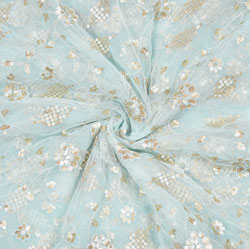 Gray Beige Flower Net Embroidery Fabric-19151