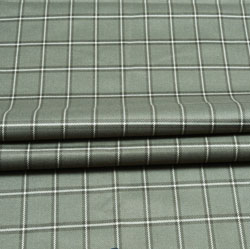 Gray Black Check Wool Fabric-90135