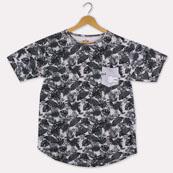 Gray Black Cotton Fern T-shirt-33382
