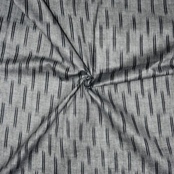 Gray Black Ikat Cotton Fabric-11156