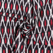 Gray Black Ikat Cotton Fabric-12196