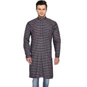 Gray Black and Red Stripes Handloom Long Kurta-33161