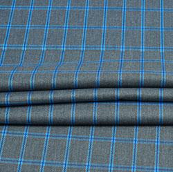 Gray Blue Check Wool Fabric-90110