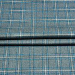 Gray Blue Check Wool Fabric-90136
