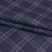 Gray Blue Checks Wool Fabric-90097