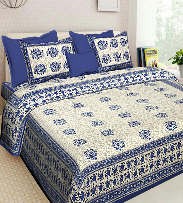 Gray Blue Cotton Jaipuri Bedsheet-614