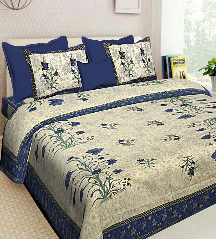 Gray Blue Cotton Jaipuri Bedsheet-627