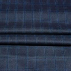Gray Blue Checks Wool Fabric-90251