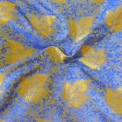 Gray-Blue and Golden Leaf Pattern Brocade Silk Fabric-8018