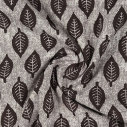 Gray Brown Block Print Cotton Fabric-16144