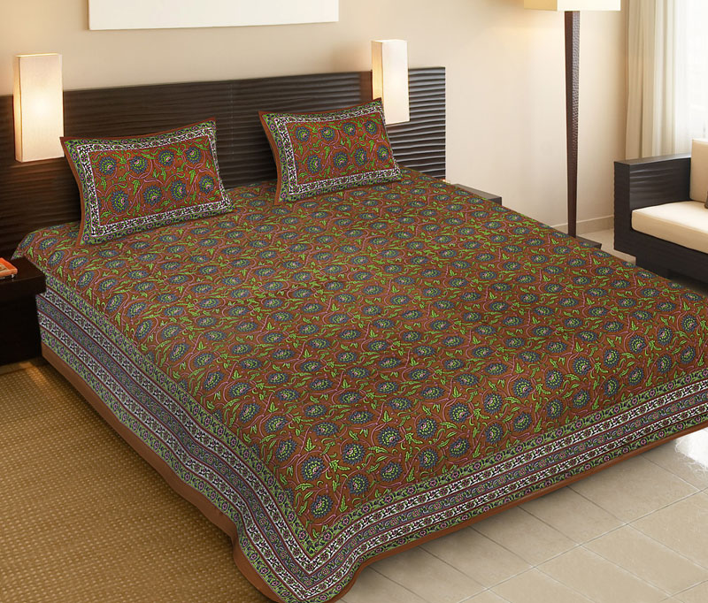 Gray Brown Cotton Jaipuri Bedsheet-517