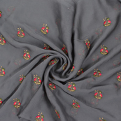 Gray Chiffon Fabric With Pink and Golden Flower Embroidery -60798