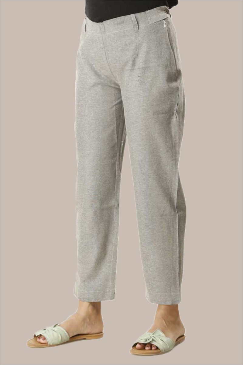 Gray Cotton Samray Ankle Length Pant-33713