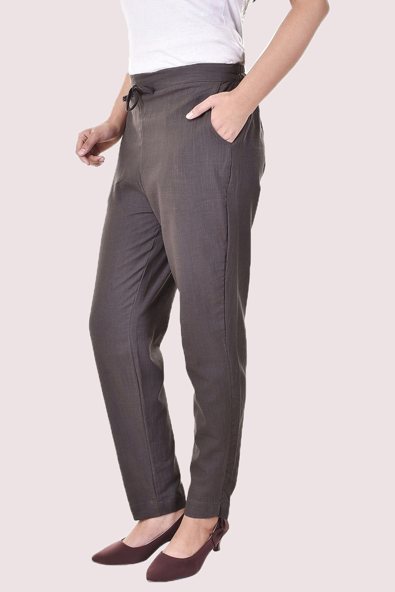 Gray Cotton Slub Solid Women Pant-33291