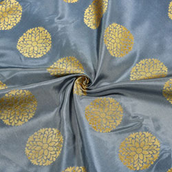 Gray Golden Circle Brocade Silk Fabric-12049