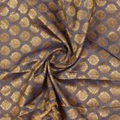 Gray Golden Floral Jacquard Brocade Silk Fabric-9128
