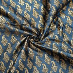 Gray Golden Paisley Brocade Silk Fabric-12130