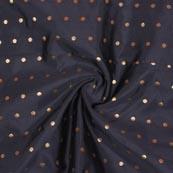 Gray Golden Polka Brocade Silk Fabric-9362