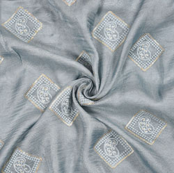 Gray Golden Square Georgette Embroidery Fabric-19115
