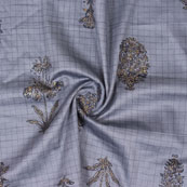 Gray Golden and Black Tree print Cotton Flex Fabric-15157