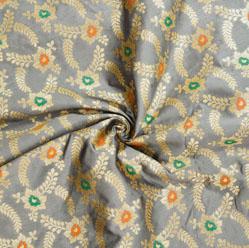 Gray Golden and Green Floral Brocade Silk Fabric-12542