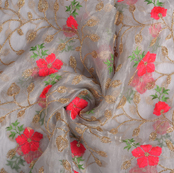 Gray-Golden and Pink Flower Organza Embroidery Fabric-51149