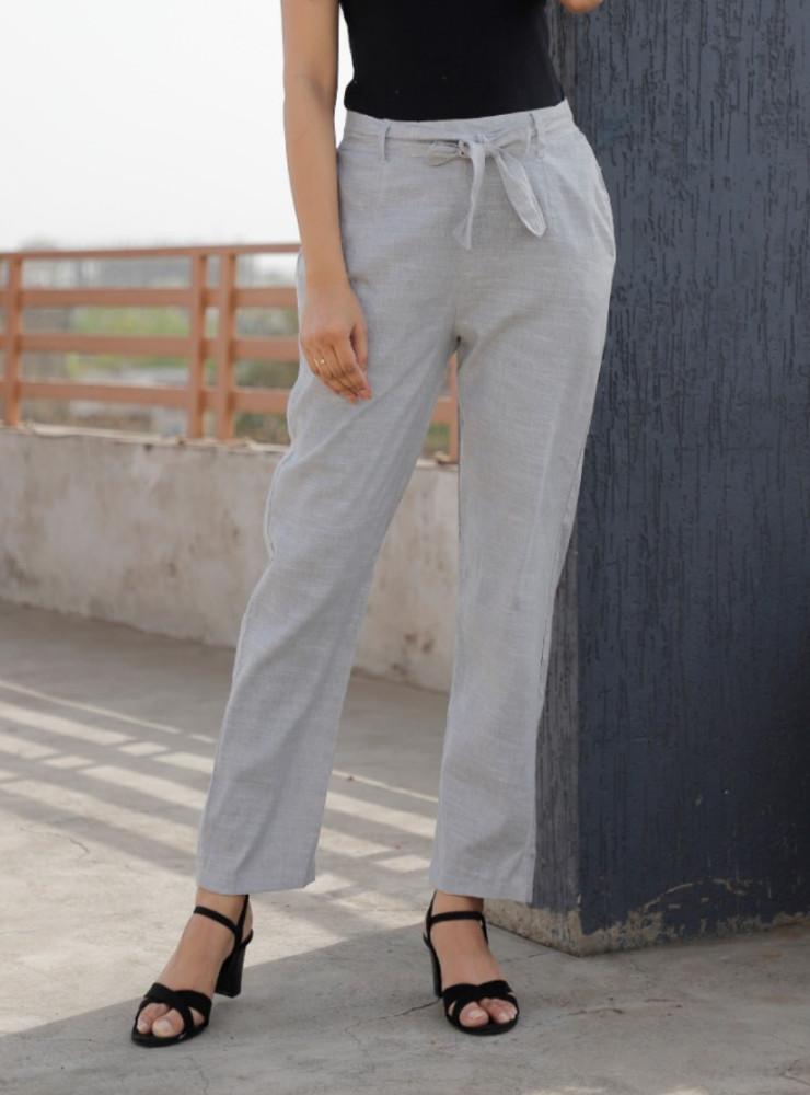 Gray Linen Slub Silk Women Pant with Loose Belt-33239