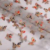 Gray Net Fabric With Multicolored Butterfly Embroidery -60774