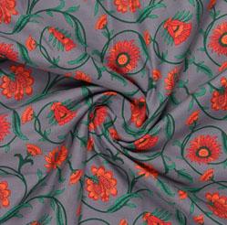 Gray Orange Block Print Cotton Fabric-16062