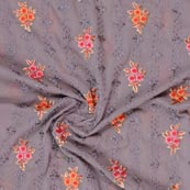 Gray Orange and Pink Floral Print Fox Georgette Embroidery Fabric-15292