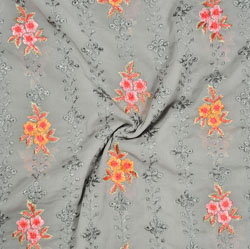 Gray Orange and Pink Embroidery Silk Georgette Fabric-18564