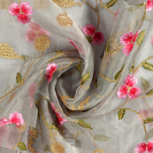Gray Organza Fabric With Pink and Golden Flower Embroidery -50074